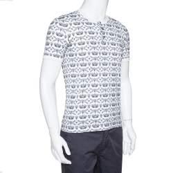 Dolce & Gabbana Monochrome Cotton Crown & Bee Print Buttoned Crew Neck T Shirt S