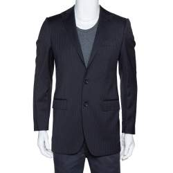 Dolce & Gabbana Black Pinstriped Wool Tailored Jacket XS
