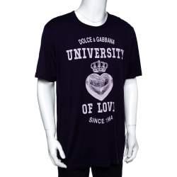 Dolce & Gabbana Purple Cotton University of Love Print T-Shirt 4XL