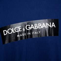 Dolce & Gabbana Blue Cotton Logo Print Crew Neck T-Shirt 5XL