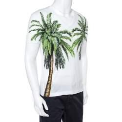 Dolce & Gabbana White Palm Trees Print Cotton V-Neck T-Shirt S