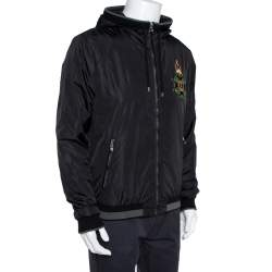 Dolce & Gabbana Black Synthetic Hooded Bomber Jacket XL