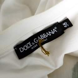 Dolce & Gabbana White Cotton Jersey Rose Print T-Shirt 4XL