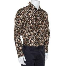 Dolce & Gabbana Gold Black Logo Print Cotton Button Front Shirt XXL