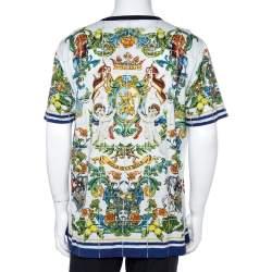 Dolce & Gabbana White Cotton Sicilian Print T-Shirt 3XL