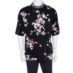 Dolce & Gabbana Black Heaven Flower Print Cotton Mock Neck T-Shirt M