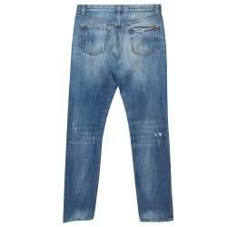 Dolce & Gabbana Blue Distressed Denim Straight Leg Jeans M