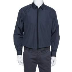 Dolce & Gabbana Navy Blue Cotton Applique Detail Long Sleeve Gold Shirt XL