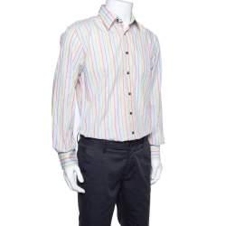 Dolce & Gabbana Multicolor Striped Cotton Button Front Shirt L