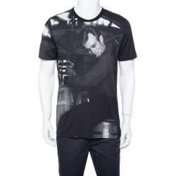 Dolce & Gabbana Black Knit Graphic Print Crewneck T Shirt XXL