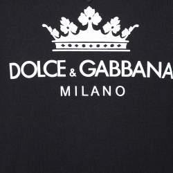Dolce & Gabbana Black Logo Printed Cotton Sweatshirt S