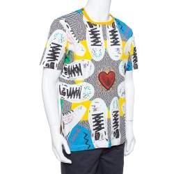 Dolce & Gabbana Multicolor Cotton Sacred heart Sneaker Print Roundneck T-Shirt 3XL