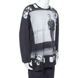 Dolce & Gabbana Black Marlon Brando Printed Cotton Long Sleeve T Shirt XXL