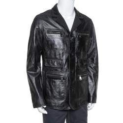 Dolce & Gabbana Black Leather Long Jacket XL