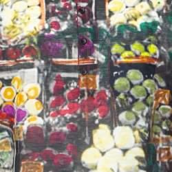 تي شيرت دولتشي أند غابانا كبير نصف أزرار كتان طباعة متعدد الألوان عنابي مقاس صغير جداً