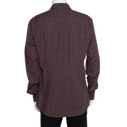 Dolce & Gabbana Gold Multicolor Geometric Printed Button Front Shirt 3XL