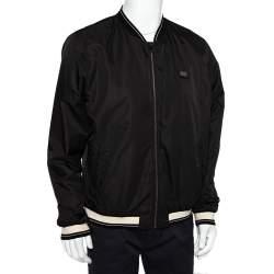Dolce & Gabbana Black Synthetic Contrast Trim Detail Bomber Jacket XXL