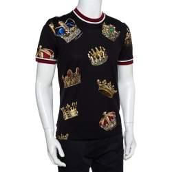 Dolce & Gabbana Black Knit Crown Print Crewneck T-Shirt M