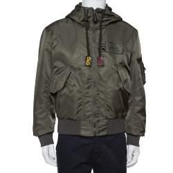Dolce & Gabbana Dark Green Synthetic Cargo Pocket Detail Hooded Jacket M
