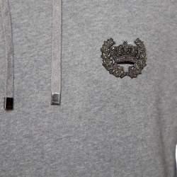 Dolce & Gabbana Grey Cotton Logo Embellished Hooded Sweatshirt S