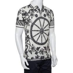 Dolce & Gabbana Monochrome Cotton Pique Rose Printed Polo  T-Shirt XS