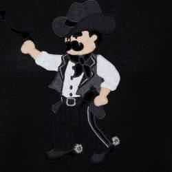 Dolce & Gabbana Black Cotton Lone Cowboy Applique Crewneck T-Shirt XS