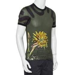 Dolce & Gabbana Green Sunflower Printed Cotton Crewneck T-Shirt XS
