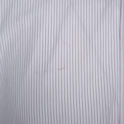 Dolce & Gabbana White Striped Cotton Shirt L