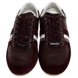 Dolce & Gabbana Burgundy Leather and Suede Metal Logo Sneakers Size 43.5