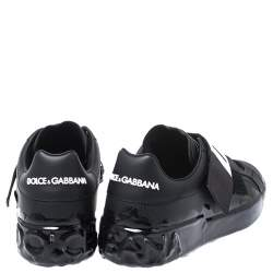 Dolce and Gabbana Black Leather Portofino Low Top Sneakers Size 42