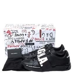 Dolce & Gabbana Black Leather Portofino Low Top Sneakers Size 41