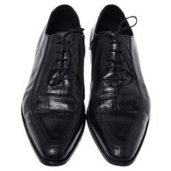 حذاء أوكسفورد دولتشي اند غابانا بمقدمة مدببة جلد بنقش سحلية أسود مقاس 44