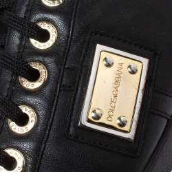 Dolce & Gabbana Black Leather Logo Plaque Sneakers Size 41