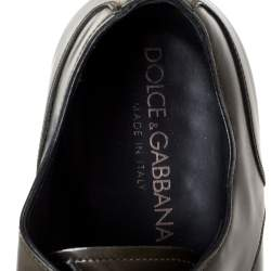 Dolce & Gabbana Olive Green Leather Oxfords Size 43