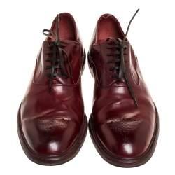 Dolce & Gabbana Burgundy Brogue Leather Oxfords Size 45