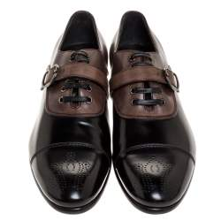 Dolce & Gabbana 2 Tone Leather Lace Up And Buckle Strap Oxford Size 45