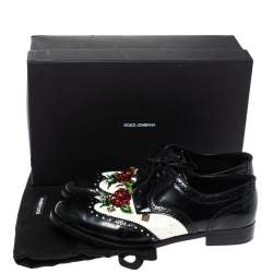 Dolce & Gabbana Black Brogue Leather Crystal Embellished Wool and Leather Oxfords Size 41