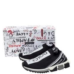 Dolce & Gabbana Black Stretch Fabric Sorrento Slip On Sneakers Size 42.5
