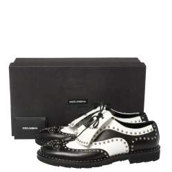 Dolce & Gabbana Black/White Studded Leather Brogue Detail Fringe Oxfords Size 43