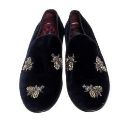 Dolce and Gabbana Navy Blue Velvet Bee Embellished Smoking Slippers Size 43