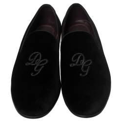 Dolce And Gabbana Black Velvet DG Logo Smoking Slippers Size 45