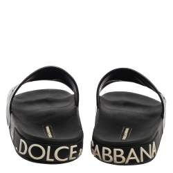 Dolce & Gabbana Black Leather Crown Logo Slip On Slides Size 43