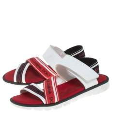 Dolce And Gabbana Multicolor Canvas And Leather Velcro  Sandals Size 37