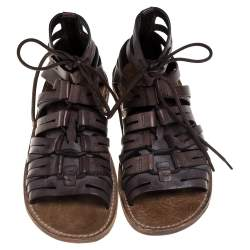 Dolce & Gabbana Brown Leather Gladiator Sandals Size 41.5