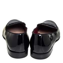 Dolce & Gabbana Black Patent Leather Studded Slip On Loafers Size 43