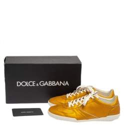 Dolce & Gabbana Yellow Perforated Leather  Sneakers Size 44