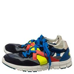 Dolce & Gabbana Multicolor Mesh And Leather Low Top Sneakers Size 41
