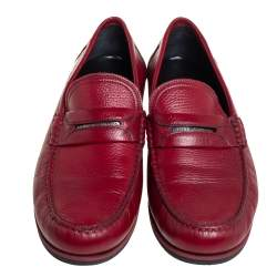 Dolce & Gabbana Red Leather Penny Slip On Loafers Size 43