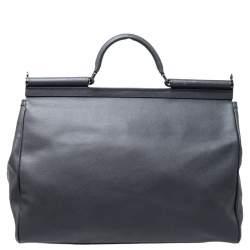 Dolce & Gabbana Grey Leather Sicily Travel Bag