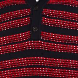 Dsquared2 Bicolor Textured Striped Detail Short Sleeve Polo T-Shirt M